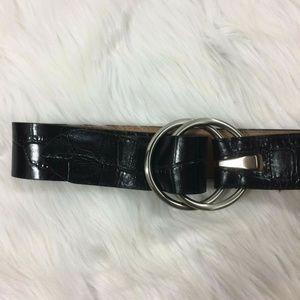 Ann Taylor Black Leather Alligator Belt Hip Waist